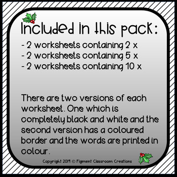 Christmas themed maths activity focusing on multiplication 2x, 5x and 10x tables