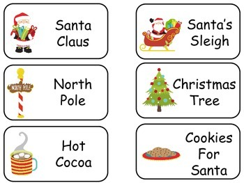 Christmas themed printable Picture Word Flash Cards. Preschool flashcards.