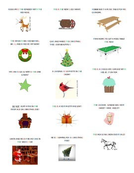Christmas themed sentence cards and gameboards with phoneme color codes