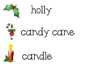 Christmas time writing word cards