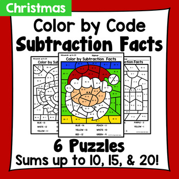Christmas to School Color By Subtraction Facts: Minuends up to 10, 15, & 20