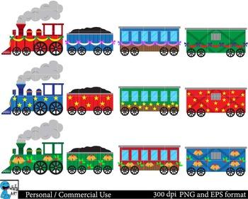Christmas trains Digital Clip Art Graphics 30 images cod51