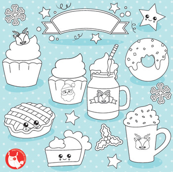 Christmas treats stamps commercial use, vector graphics, images  - DS1031