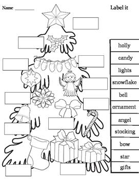 Christmas tree Activities (Interactive flip book, poster & worksheets)