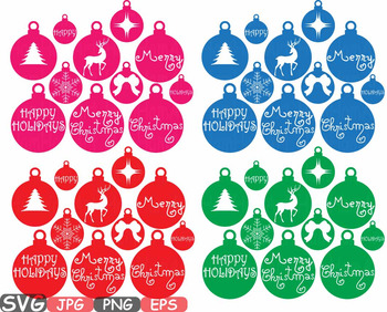 Christmas tree Ornament Happy Holidays clipart snowflake rudolph Reindeer  -553s