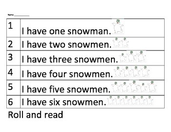 Christmas tree and snowman roll and read sentences