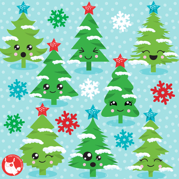 Christmas tree faces commercial use, graphics, digital  - CL1207