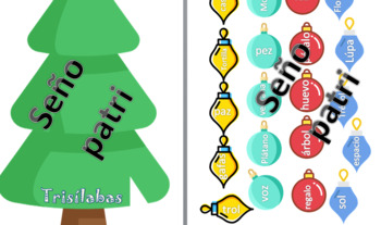Christmas tree monosilabas bisilabas y trisilabas