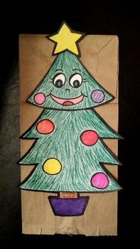 Christmas tree paper bag puppet pattern
