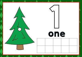 Christmas tree play dough mats numbers 1-10