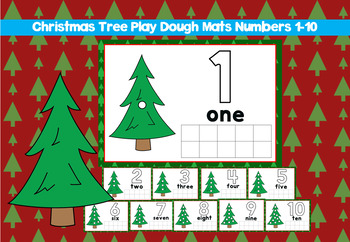 Christmas tree play dough mats numbers 1-10