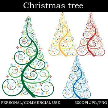 Christmas trees Digital Clip Art Graphics 4 images cod8