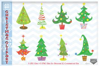 Christmas Illustrations Png.Christmas Trees Bundle Clip Art Christmas Illustrations Set