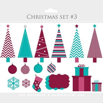 Christmas trees clip art and digital papers- for scrapbooking, holiday