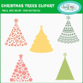 Christmas trees clip art and digital stamps
