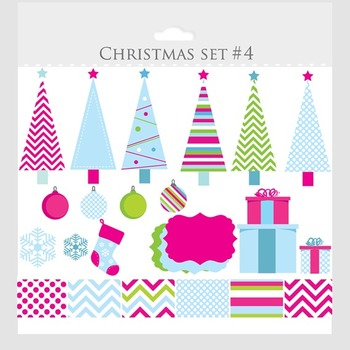 Christmas trees clipart and digital papers- clip art, pink, holiday, festive