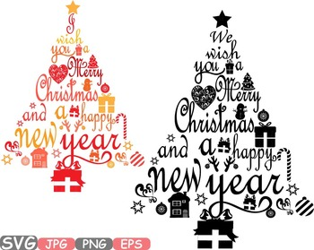 Christmas Calligraphy.Christmas Trees Star Happy New Year Word Art Letters Calligraphy Clipart 458s