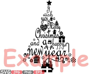 christmas trees star happy new year word art letters calligraphy clipart 458s