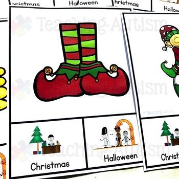 Christmas v Halloween Sorting Categories Task Cards