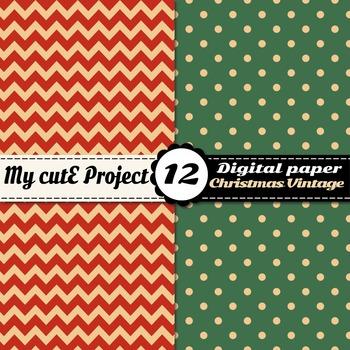 Christmas vintage DIGITAL PAPER - Christmas vintage, stripes, red gingham