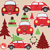 Christmas vintage car clipart commercial use, graphics, digital  - CL1199