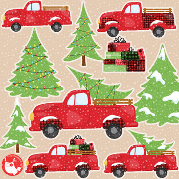 Christmas vintage trucks clipart commercial use, graphics, digital  - CL1198