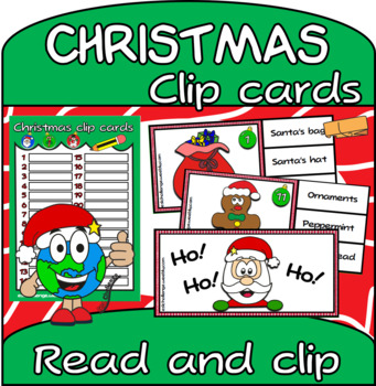 Christmas vocabulary Clip Cards