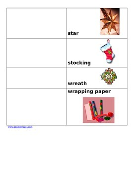 Christmas vocabulary words with pictures