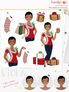 Christmas woman character clipart, holiday girl clip art (Viola L332)