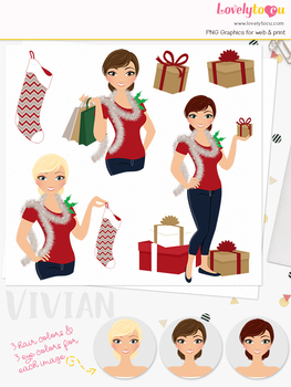 Christmas woman character clipart, holiday girl clip art (Vivian L331)