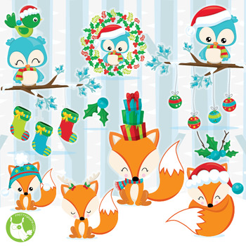 Christmas woodland clipart commercial use, vector graphics, digital  - CL1045
