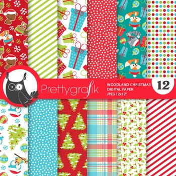 Christmas woodland papers, commercial use, scrapbook papers - PS763