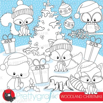 Christmas woodland stamps commercial use, vector graphics,