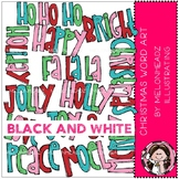 Christmas word art clip art - BLACK AND WHITE - Melonheadz Clipart