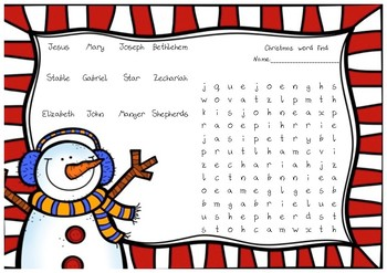 Christmas word find