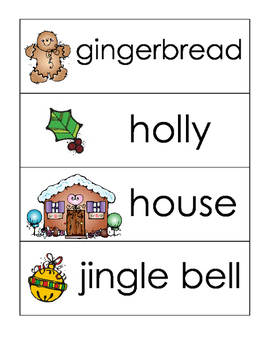 Christmas word wall and picture dictionary