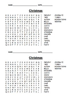 Christmas wordseach differentiated
