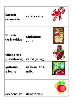 Christmas wordsearch w/pictures & labels in English/Spanish