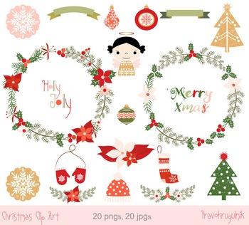 Christmas wreaths clip art, Poinsettia winter floral wreat