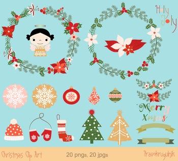 Christmas wreaths clip art, Poinsettia winter floral wreath, Winter border frame