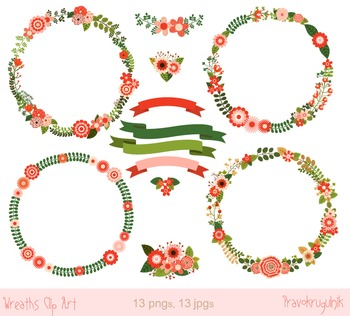 Christmas wreaths clipart, Holiday floral wreath frame, Winter flower border