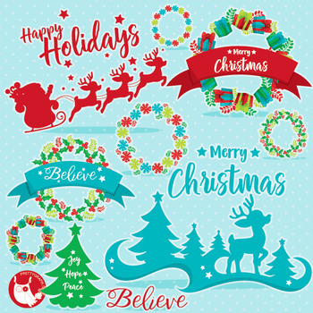 Christmas wreaths clipart commercial use, vector graphics, digital  - CL1044