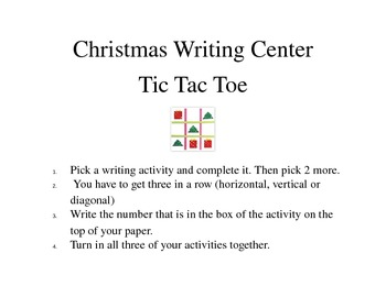 Christmas writing Center Activity