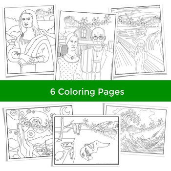 Christmas Coloring Pages and Christmas Writing - Santa in Famous Art!