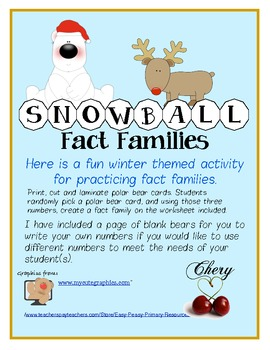 Christmas/Holiday Centers Snowball Fact Families FREE Sample Game