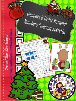Christmas/Holiday Compare & Order Rational Number Coloring Activity