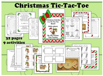 Christmas/Holiday Menu Board-9 total activities (3 are centers)