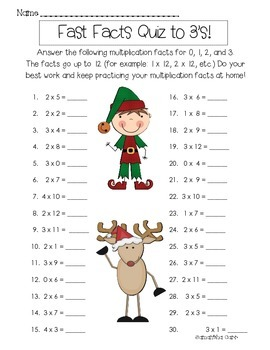 Christmas/Holiday Multiplication Fact Quizzes!