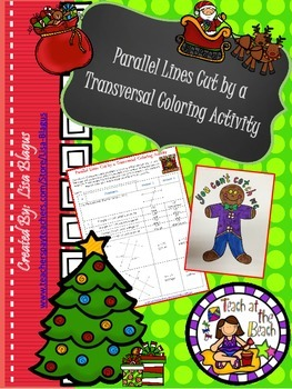Christmas/Holiday Parallel Lines cut by Transversal Coloring Activity