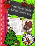 Christmas/Holiday Percent, Discount, Sales tax, Interest Coloring Act.
